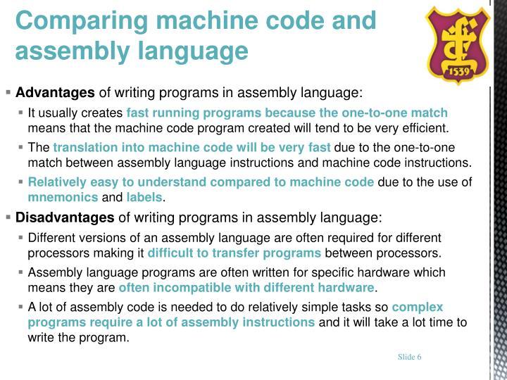 Comparing machine code and