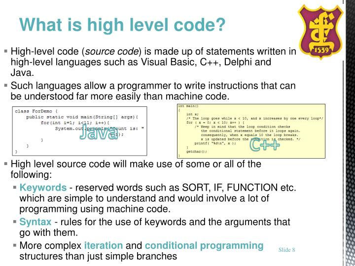 High-level code (