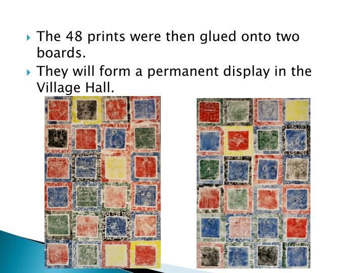 The 48 prints were then glued onto two boards.