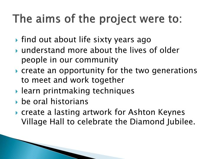The aims of the project were to: