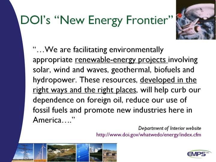 """DOI's """"New Energy Frontier"""""""