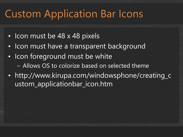 Custom Application Bar Icons