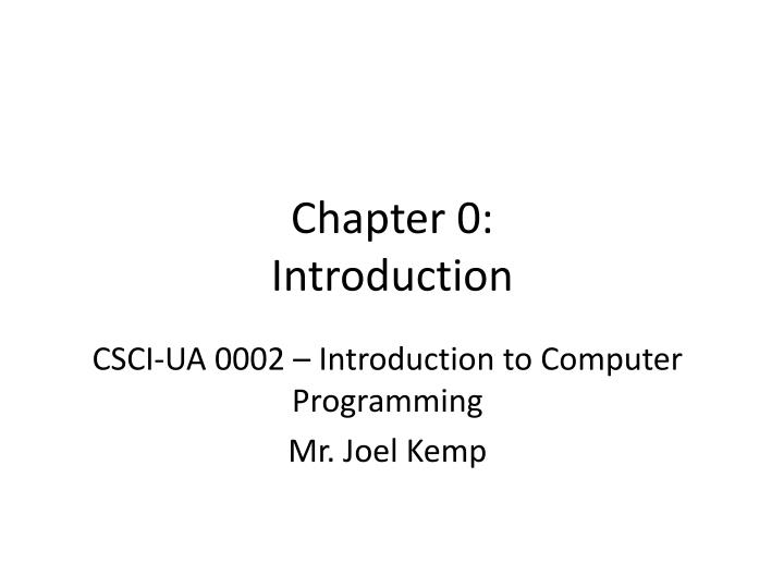 Chapter 0: