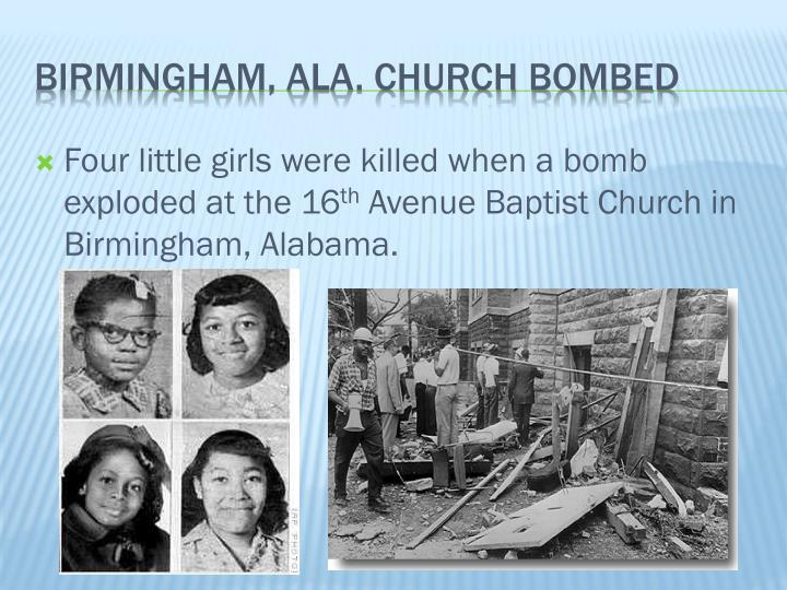 Four little girls were killed when a bomb exploded at the 16