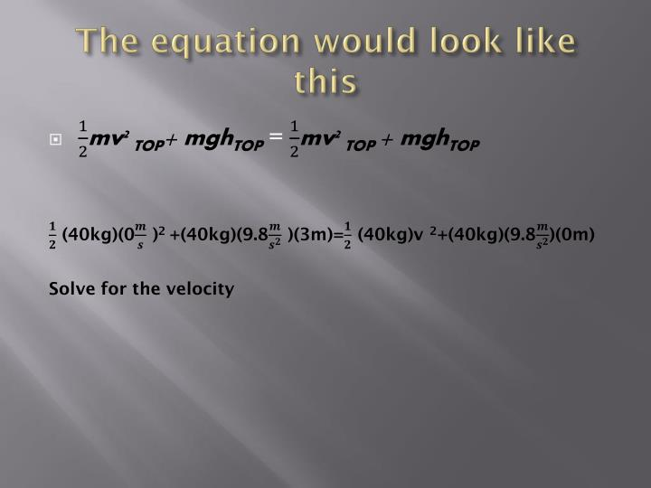 The equation would look like this