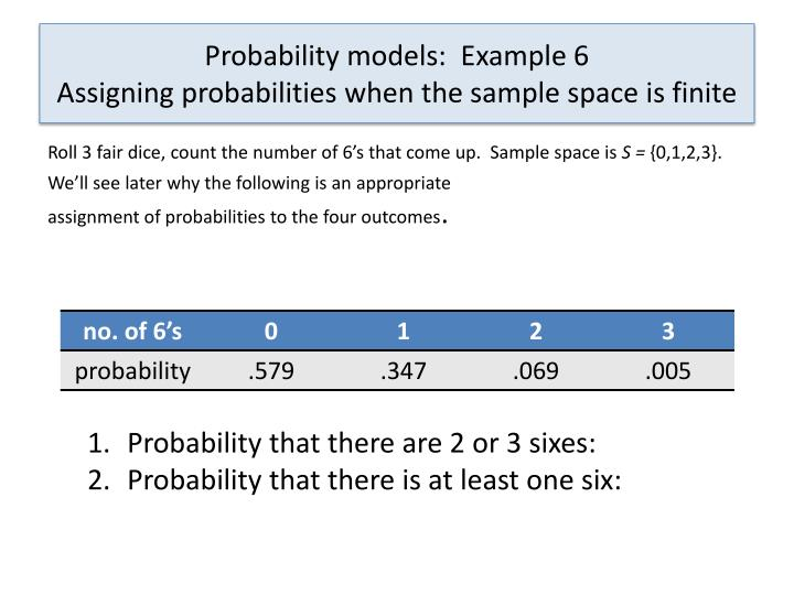 Probability models:  Example 6