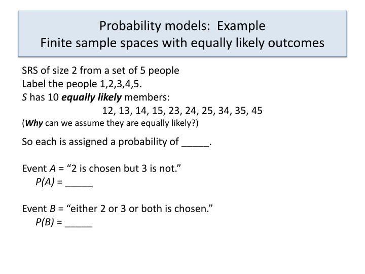 Probability models:  Example