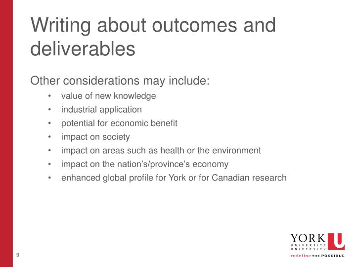 Writing about outcomes and deliverables
