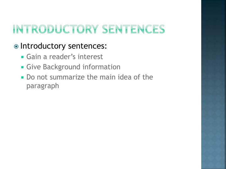 Introductory Sentences