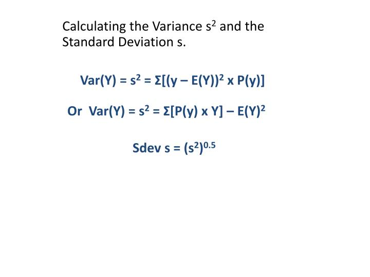 Calculating the Variance s