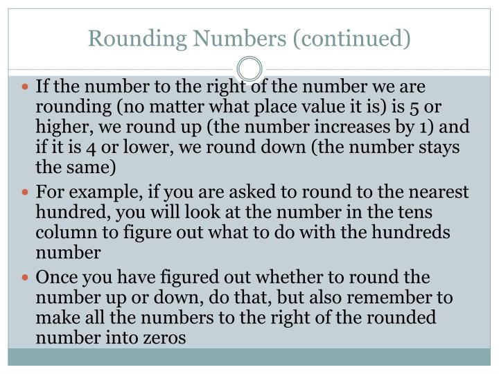 Rounding Numbers (continued)
