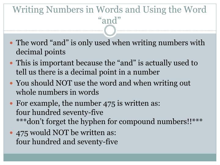 """Writing Numbers in Words and Using the Word """"and"""""""