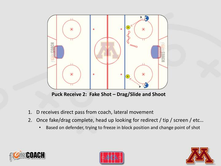 Puck Receive 2:  Fake Shot – Drag/Slide and Shoot