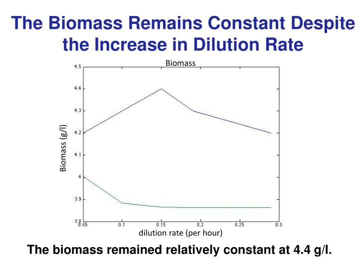 The Biomass Remains Constant Despite the Increase in Dilution Rate