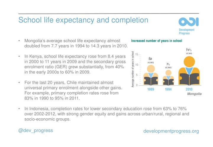 School life expectancy and completion