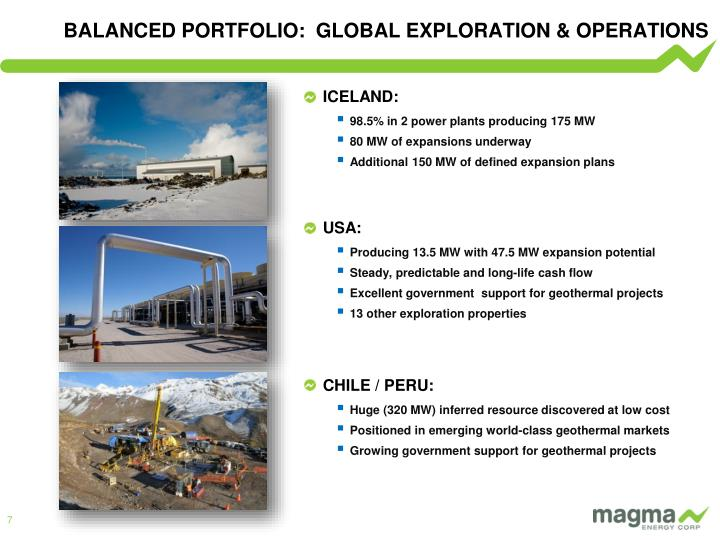 BALANCED PORTFOLIO:  GLOBAL EXPLORATION & OPERATIONS
