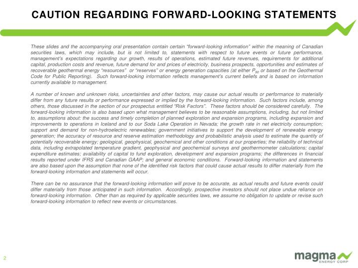 CAUTION REGARDING FORWARD-LOOKING STATEMENTS