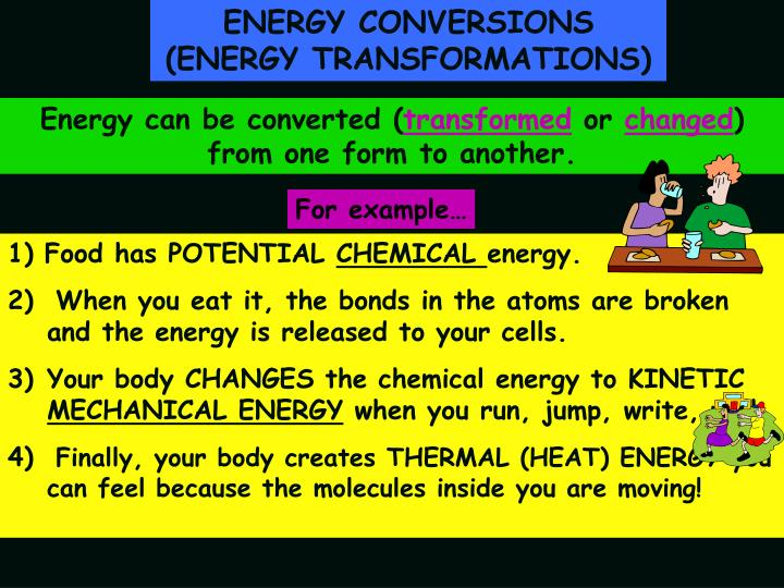 ENERGY CONVERSIONS (ENERGY TRANSFORMATIONS)