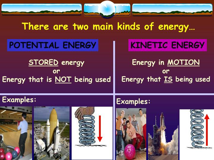 There are two main kinds of energy…