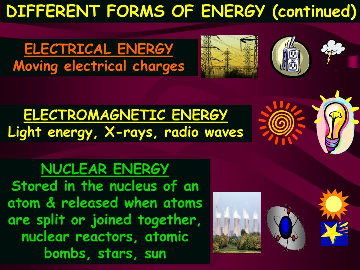 DIFFERENT FORMS OF ENERGY (continued)