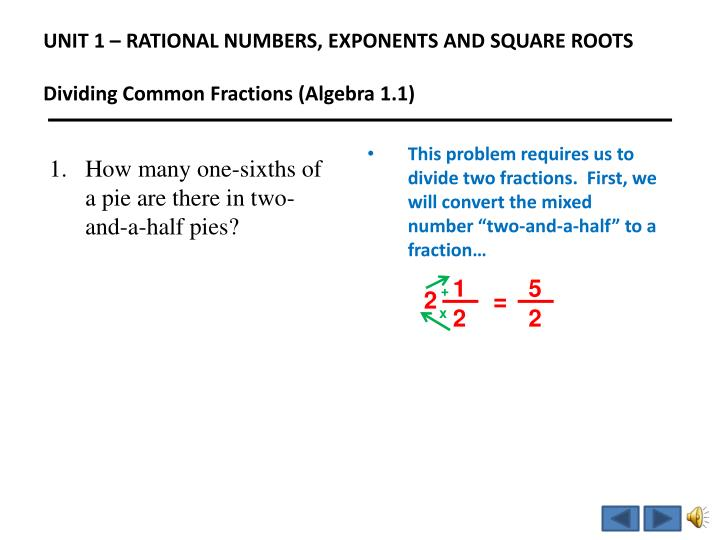 Unit 1 rational numbers exponents and square roots dividing common fractions algebra 1 11