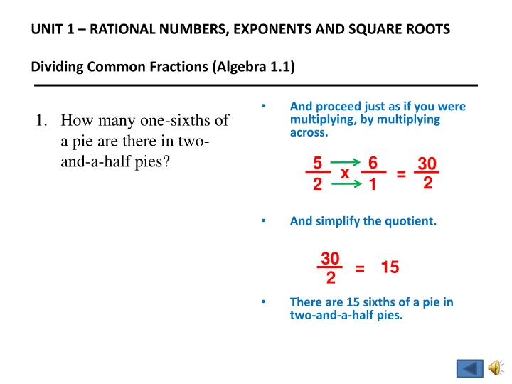 UNIT 1 – RATIONAL NUMBERS, EXPONENTS AND SQUARE ROOTS