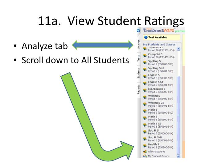 11a.  View Student Ratings