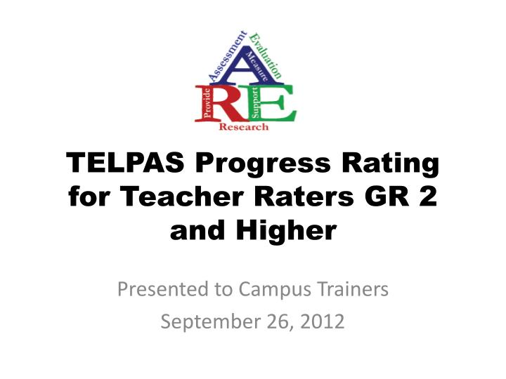 telpas progress rating for teacher raters gr 2 and higher