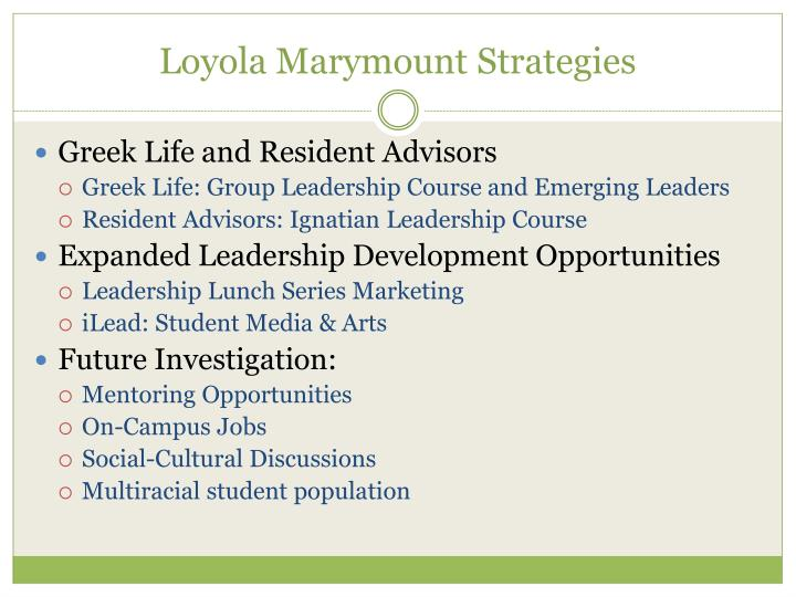 Loyola Marymount Strategies