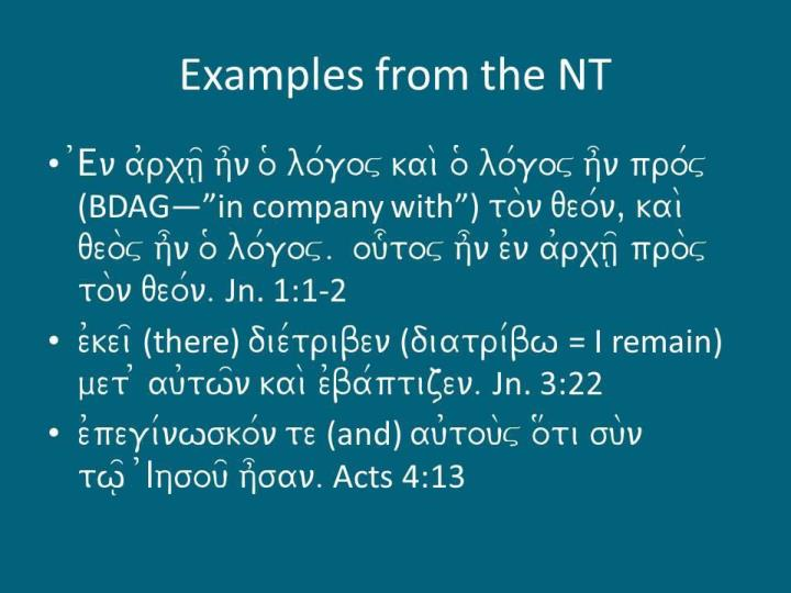 Examples from the NT