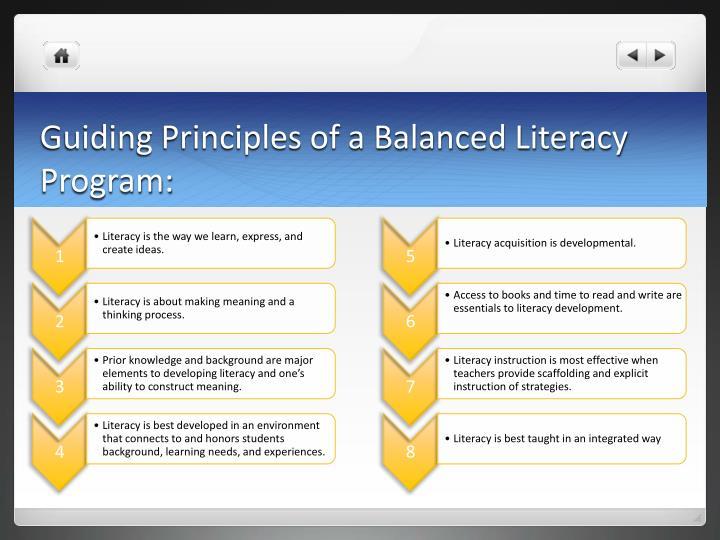 Guiding Principles of a Balanced Literacy Program: