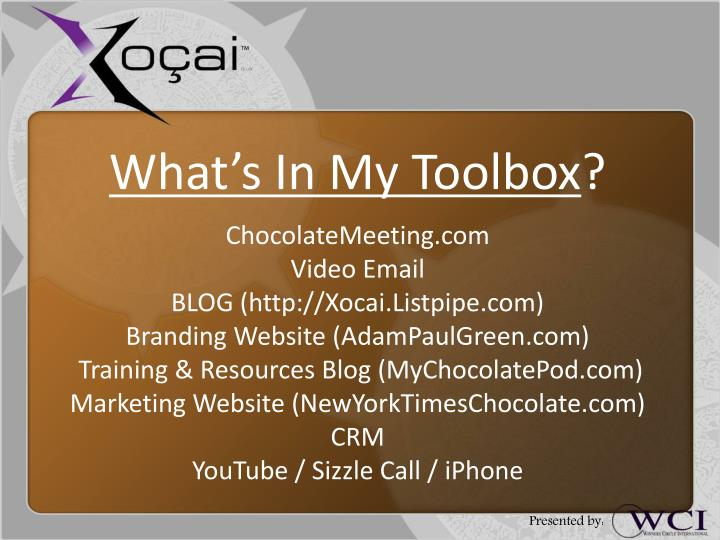 What's In My Toolbox