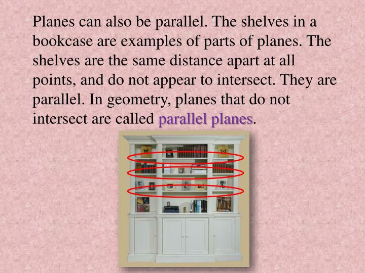 Planes can also be parallel. The shelves in a bookcase are examples of parts of planes. The shelves are the same distance apart at all points, and do not appear to intersect. They are parallel. In geometry, planes that do not intersect are called