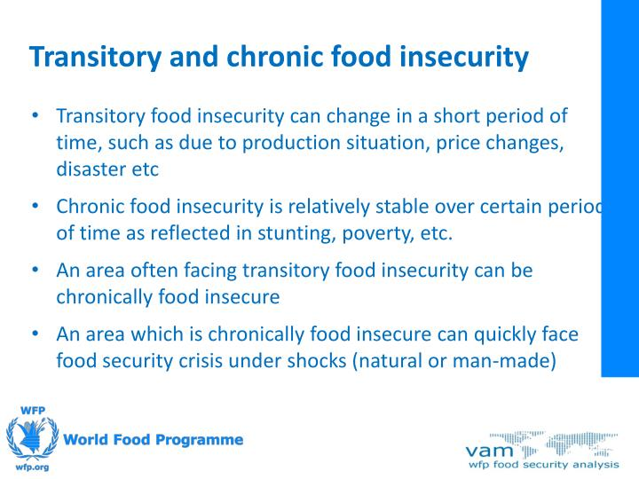 Transitory and chronic food insecurity