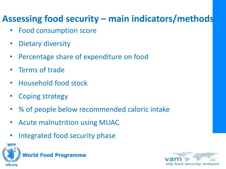 Assessing food security – main indicators/methods