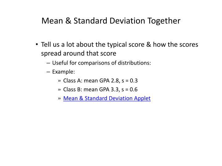 Mean & Standard Deviation Together