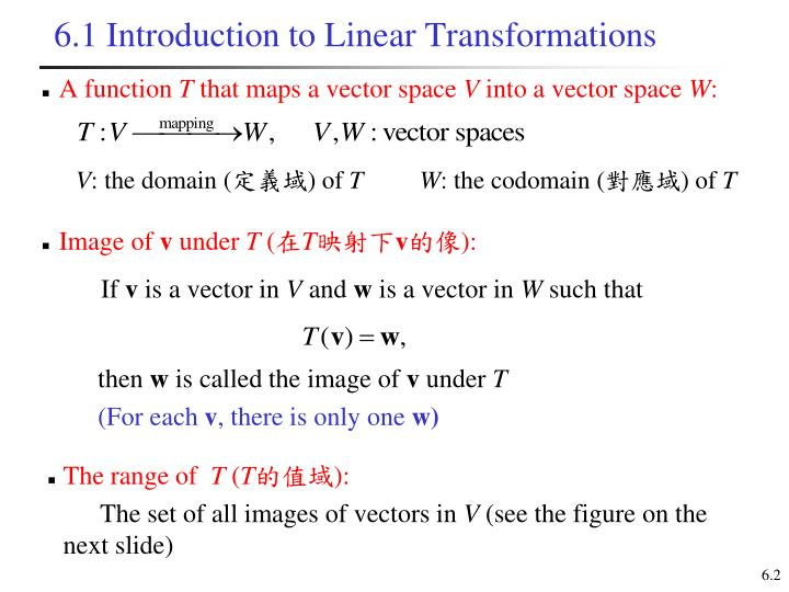 6.1 Introduction to Linear Transformations