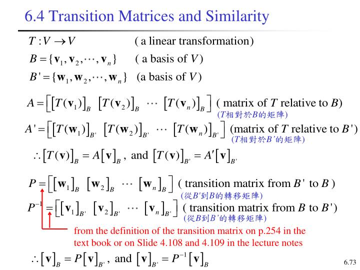 6.4 Transition Matrices and Similarity