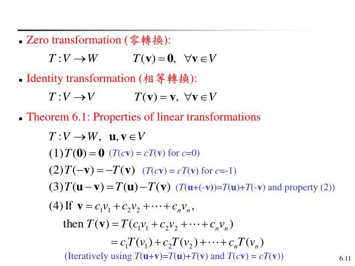 Zero transformation (