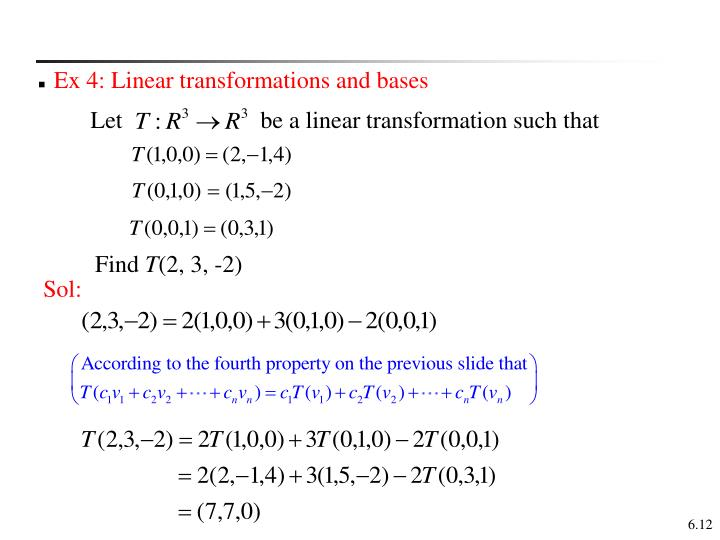 Ex 4: Linear transformations and bases