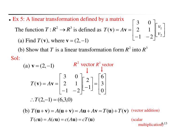Ex 5: A linear transformation defined by a matrix