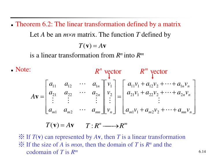 Theorem 6.2: The linear transformation defined by a matrix