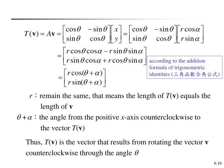 according to the addition formula of trigonometric identities (