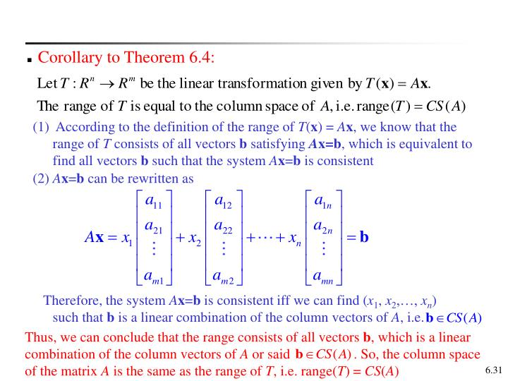 Corollary to Theorem 6.4: