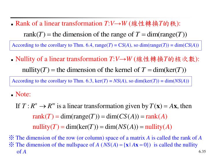 Rank of a linear transformation