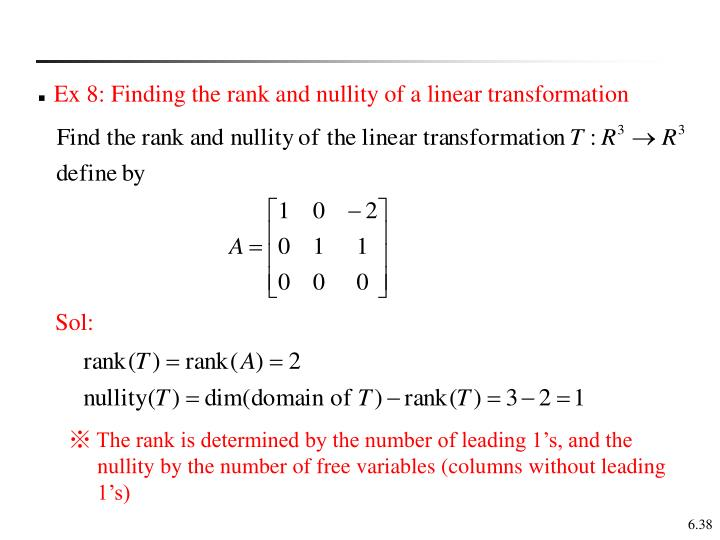 Ex 8: Finding the rank and nullity of a linear transformation