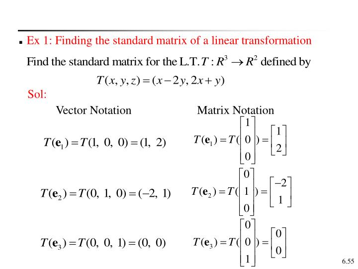Ex 1: Finding the standard matrix of a linear transformation