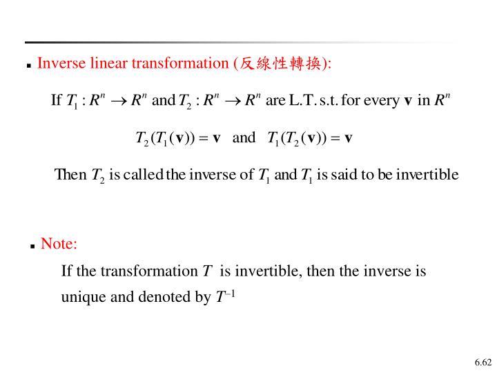 Inverse linear transformation (