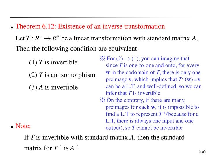 Theorem 6.12: Existence of an inverse transformation