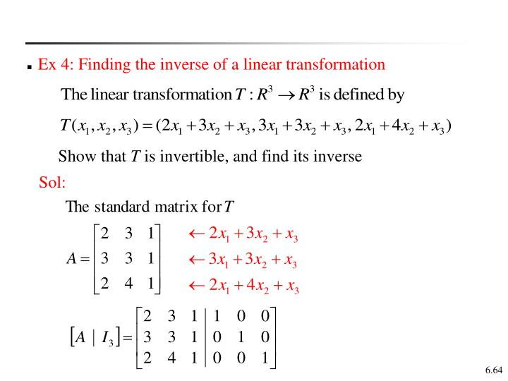 Ex 4: Finding the inverse of a linear transformation